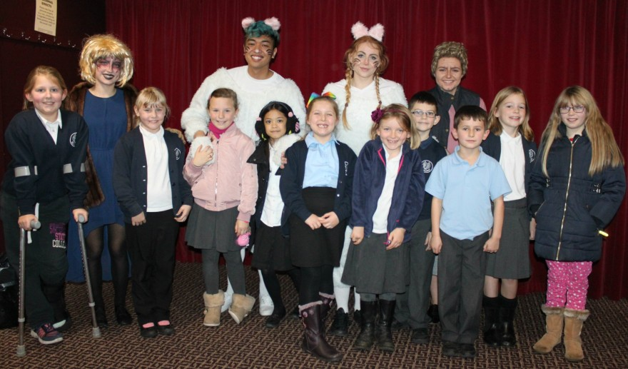 Strode College members of the cast (Harriet Cameron as 'Grand High Witch', Shane Bustos as 'Bruno', Eden Hammett as 'Boy' and Nolwenn Cole as 'Grandmother') with Elmhurst pupils